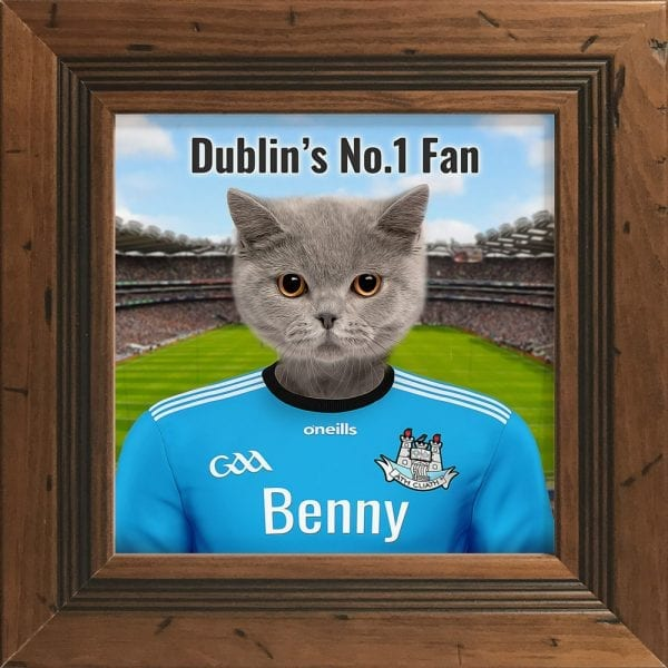 Dublin GAA fans gift. A personalised pet portrait ceramic GAA gift in a rustic pine frame. Picture Parcel pet portraits are handmade in Ireland and ship worldwide. A great gift for any GAA supporter at home or abroad.