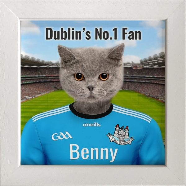 Dublin GAA fans gift. A personalised pet portrait ceramic GAA gift in a white frame. Picture Parcel pet portraits are handmade in Ireland and ship worldwide. A great gift for any GAA supporter at home or abroad.