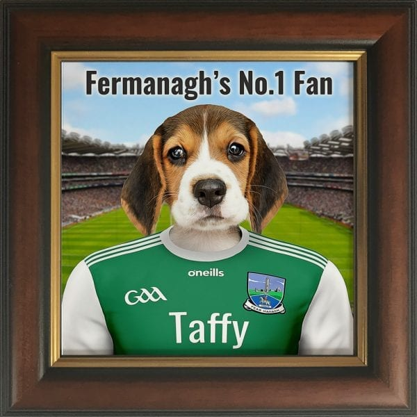 Fermanagh GAA fans gift. A personalised pet portrait ceramic GAA gift in a brown and gold frame. Picture Parcel pet portraits are handmade in Ireland and ship worldwide. A great gift for any GAA supporter at home or abroad.