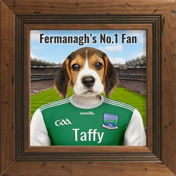 Fermanagh GAA fans gift. A personalised pet portrait ceramic GAA gift in a rustic pine frame. Picture Parcel pet portraits are handmade in Ireland and ship worldwide. A great gift for any GAA supporter at home or abroad.
