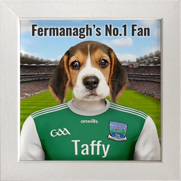 Fermanagh GAA fans gift. A personalised pet portrait ceramic GAA gift in a white frame. Picture Parcel pet portraits are handmade in Ireland and ship worldwide. A great gift for any GAA supporter at home or abroad.