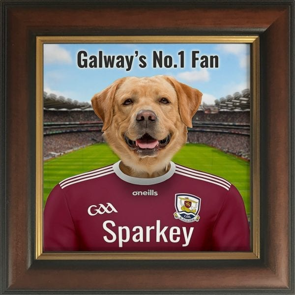 Galway GAA fans gift. A personalised pet portrait ceramic GAA gift in a gold and brown frame. Picture Parcel pet portraits are handmade in Ireland and ship worldwide. A great gift for any GAA supporter at home or abroad.