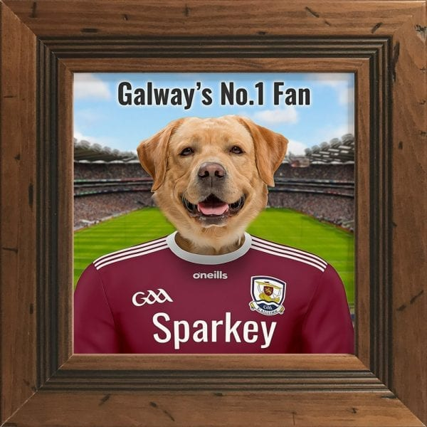Galway GAA fans gift. A personalised pet portrait ceramic GAA gift in a rustic pine frame. Picture Parcel pet portraits are handmade in Ireland and ship worldwide. A great gift for any GAA supporter at home or abroad.