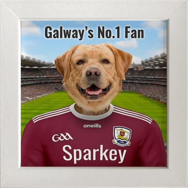 Galway GAA fans gift. A personalised pet portrait ceramic GAA gift in a white frame. Picture Parcel pet portraits are handmade in Ireland and ship worldwide. A great gift for any GAA supporter at home or abroad.