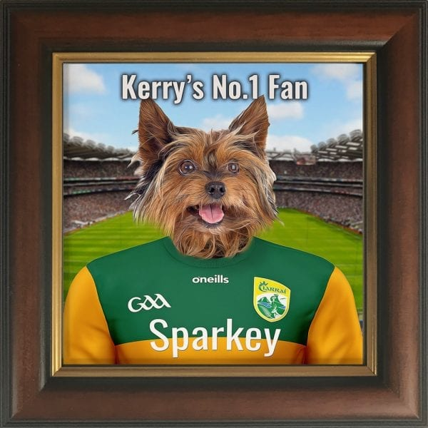 Kerry GAA fans gift. A personalised pet portrait ceramic GAA gift in a gold and pine frame. Picture Parcel pet portraits are handmade in Ireland and ship worldwide. A great gift for any GAA supporter at home or abroad.