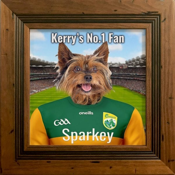 Kerry GAA fans gift. A personalised pet portrait ceramic GAA gift in a rustic frame. Picture Parcel pet portraits are handmade in Ireland and ship worldwide. A great gift for any GAA supporter at home or abroad.