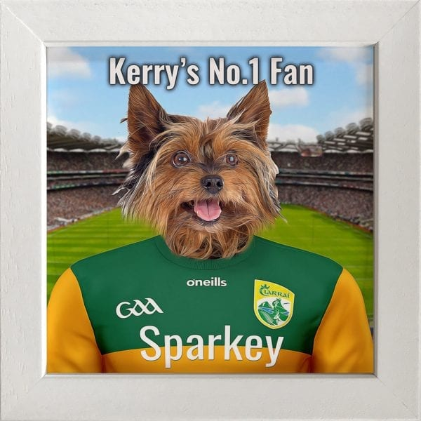 Kerry GAA fans gift. A personalised pet portrait ceramic GAA gift in a white frame. Picture Parcel pet portraits are handmade in Ireland and ship worldwide. A great gift for any GAA supporter at home or abroad.