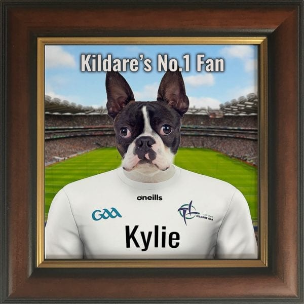 Kildare GAA fans gift. A personalised pet portrait ceramic GAA gift in a gold and brown frame. Picture Parcel pet portraits are handmade in Ireland and ship worldwide. A great gift for any GAA supporter at home or abroad.