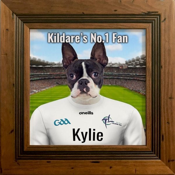 Kildare GAA fans gift. A personalised pet portrait ceramic GAA gift in a rustic frame. Picture Parcel pet portraits are handmade in Ireland and ship worldwide. A great gift for any GAA supporter at home or abroad.