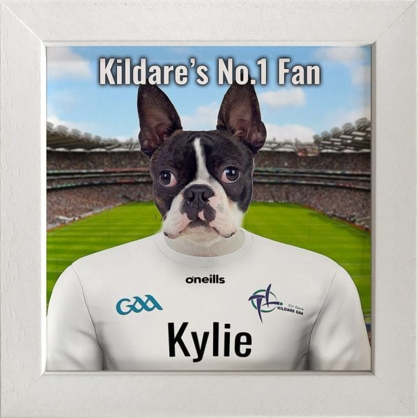 Kildare GAA fans gift. A personalised pet portrait ceramic GAA gift in a white frame. Picture Parcel pet portraits are handmade in Ireland and ship worldwide. A great gift for any GAA supporter at home or abroad.