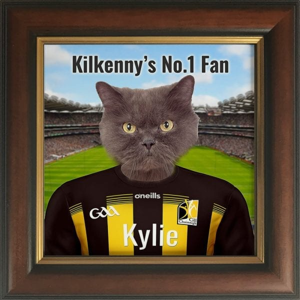 Kilkenny GAA fans gift. A personalised pet portrait ceramic GAA gift in a brown and gold frame. Picture Parcel pet portraits are handmade in Ireland and ship worldwide. A great gift for any GAA supporter at home or abroad.