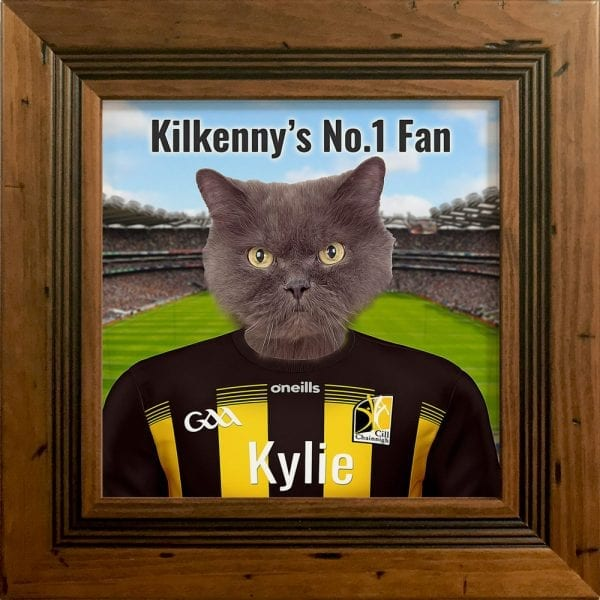 Kilkenny GAA fans gift. A personalised pet portrait ceramic GAA gift in a rustic frame. Picture Parcel pet portraits are handmade in Ireland and ship worldwide. A great gift for any GAA supporter at home or abroad.
