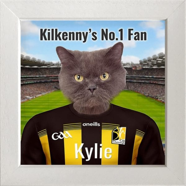 Kilkenny GAA fans gift. A personalised pet portrait ceramic GAA gift in a white frame. Picture Parcel pet portraits are handmade in Ireland and ship worldwide. A great gift for any GAA supporter at home or abroad.