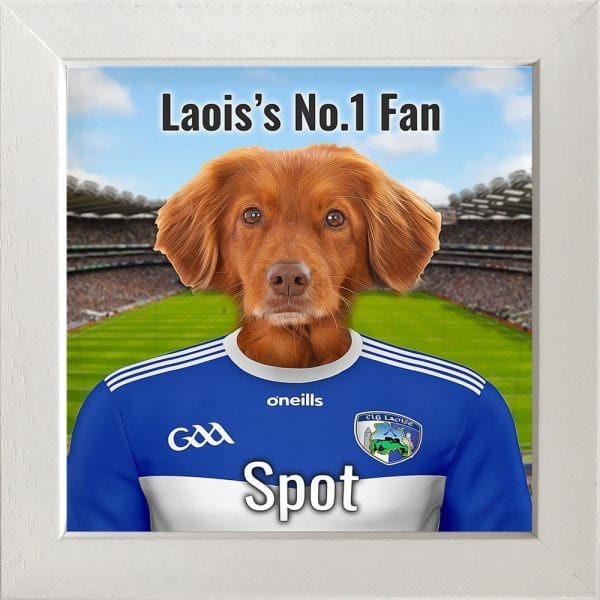 Laois GAA fans gift. A personalised pet portrait ceramic GAA gift in a white frame. Picture Parcel pet portraits are handmade in Ireland and ship worldwide. A great gift for any GAA supporter at home or abroad.