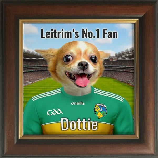 Leitrim GAA fans gift. A personalised pet portrait ceramic GAA gift in a brown and gold frame. Picture Parcel pet portraits are handmade in Ireland and ship worldwide. A great gift for any GAA supporter at home or abroad.