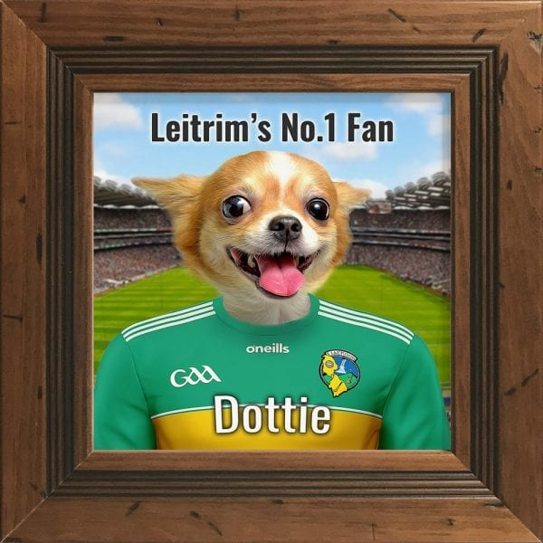 Leitrim GAA fans gift. A personalised pet portrait ceramic GAA gift in a rustic frame. Picture Parcel pet portraits are handmade in Ireland and ship worldwide. A great gift for any GAA supporter at home or abroad.