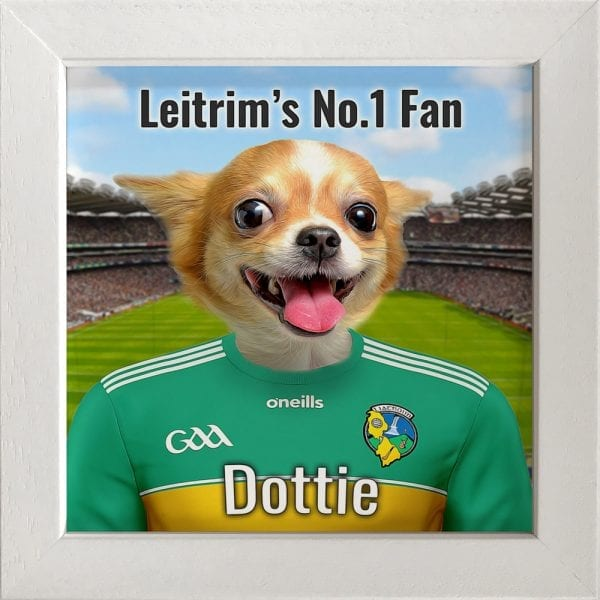 Leitrim GAA fans gift. A personalised pet portrait ceramic GAA gift in a white frame. Picture Parcel pet portraits are handmade in Ireland and ship worldwide. A great gift for any GAA supporter at home or abroad.
