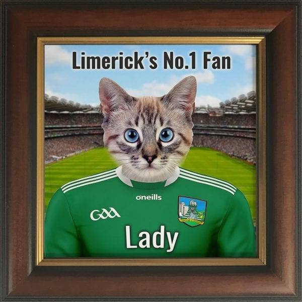 Limerick GAA fans gift. A personalised pet portrait ceramic GAA gift in a brown and gold frame. Picture Parcel pet portraits are handmade in Ireland and ship worldwide. A great gift for any GAA supporter at home or abroad.