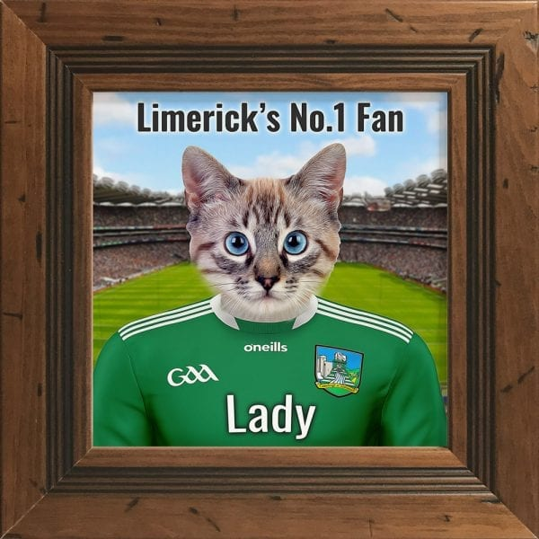 Limerick GAA fans gift. A personalised pet portrait ceramic GAA gift in a rustic frame. Picture Parcel pet portraits are handmade in Ireland and ship worldwide. A great gift for any GAA supporter at home or abroad.