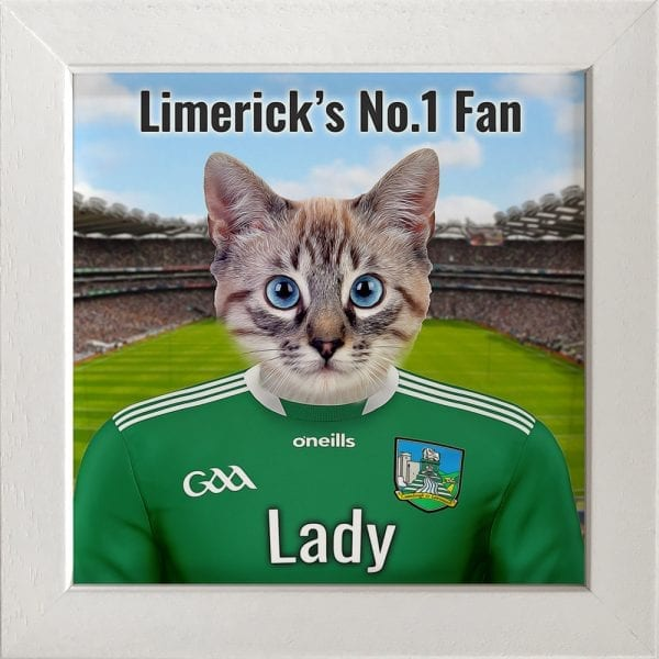 Limerick GAA fans gift. A personalised pet portrait ceramic GAA gift in a white frame. Picture Parcel pet portraits are handmade in Ireland and ship worldwide. A great gift for any GAA supporter at home or abroad.