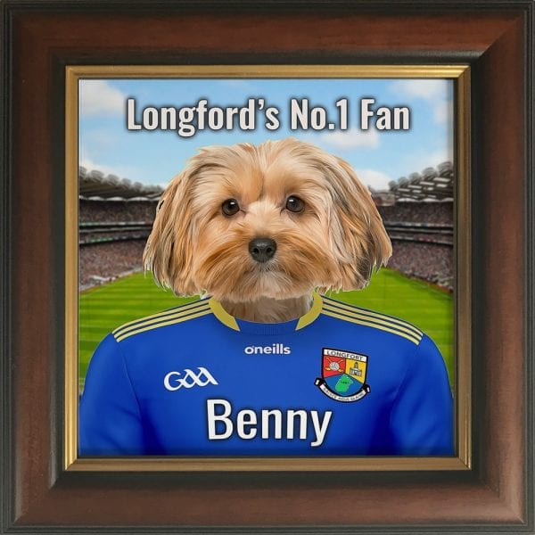 Longford GAA fans gift. A personalised pet portrait ceramic GAA gift in a brown and gold real wood frame. Picture Parcel pet portraits are handmade in Ireland and ship worldwide. A great gift for any GAA supporter at home or abroad.