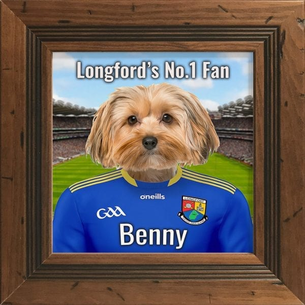 Longford GAA fans gift. A personalised pet portrait ceramic GAA gift in a rustic frame. Picture Parcel pet portraits are handmade in Ireland and ship worldwide. A great gift for any GAA supporter at home or abroad.