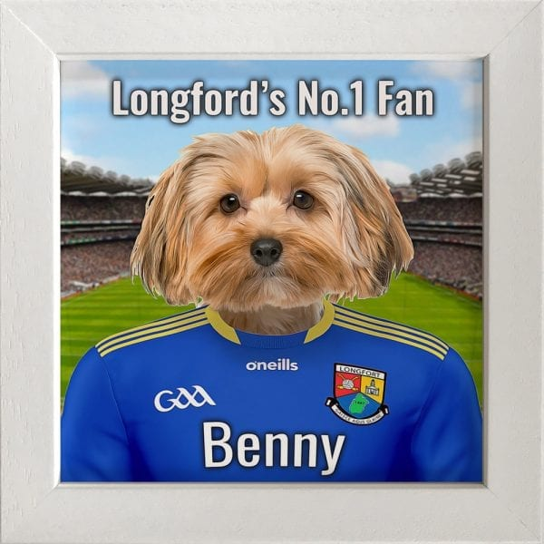 Longford GAA fans gift. A personalised pet portrait ceramic GAA gift in a white real wood frame. Picture Parcel pet portraits are handmade in Ireland and ship worldwide. A great gift for any GAA supporter at home or abroad.