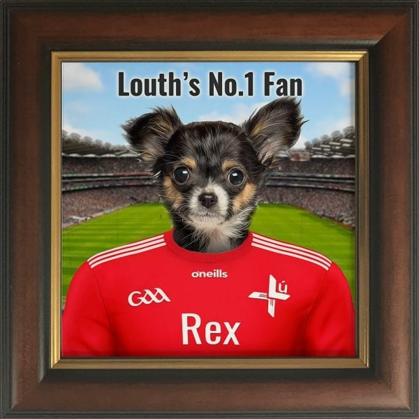 Louth GAA fans gift. A personalised pet portrait ceramic GAA gift in a gold and brown real wood frame. Picture Parcel pet portraits are handmade in Ireland and ship worldwide. A great gift for any GAA supporter at home or abroad.