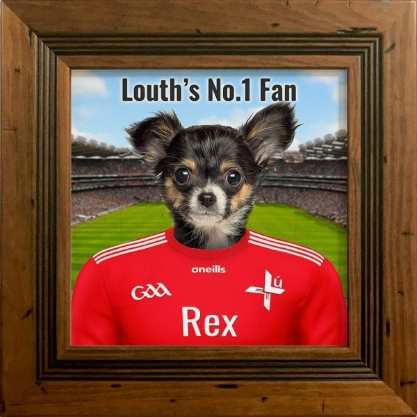 Louth GAA fans gift. A personalised pet portrait ceramic GAA gift in a rustic pine real wood frame. Picture Parcel pet portraits are handmade in Ireland and ship worldwide. A great gift for any GAA supporter at home or abroad.
