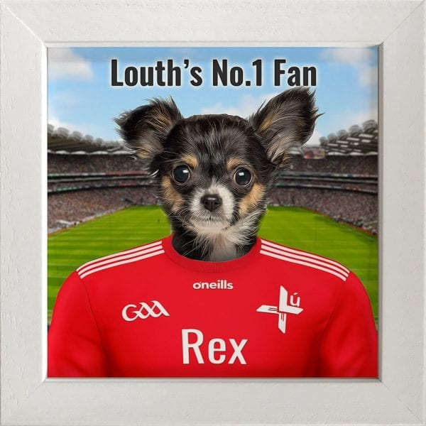 Louth GAA fans gift. A personalised pet portrait ceramic GAA gift in a white real wood frame. Picture Parcel pet portraits are handmade in Ireland and ship worldwide. A great gift for any GAA supporter at home or abroad.