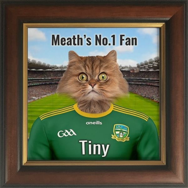 Meath GAA fans gift. A personalised pet portrait ceramic GAA gift in a brown and gold real wood frame. Picture Parcel pet portraits are handmade in Ireland and ship worldwide. A great gift for any GAA supporter at home or abroad.