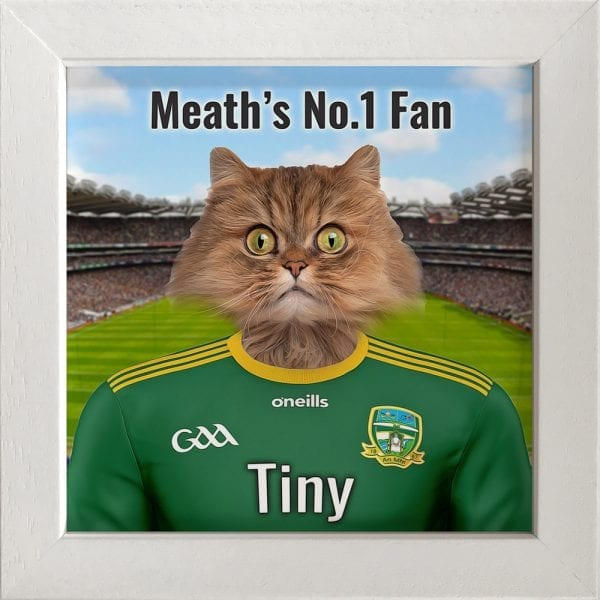 Meath GAA fans gift. A personalised pet portrait ceramic GAA gift in a white real wood frame. Picture Parcel pet portraits are handmade in Ireland and ship worldwide. A great gift for any GAA supporter at home or abroad.