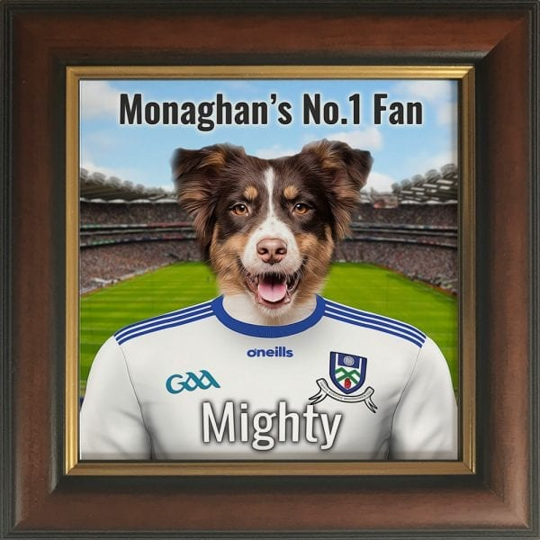 Monaghan GAA fans gift. A personalised pet portrait ceramic GAA gift in a gold and brown real wood frame. Picture Parcel pet portraits are handmade in Ireland and ship worldwide. A great gift for any GAA supporter at home or abroad.