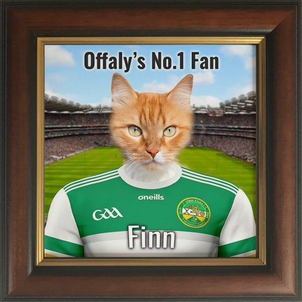 Offaly GAA fans gift. A personalised pet portrait ceramic GAA gift in a brown and gold real wood frame. Picture Parcel pet portraits are handmade in Ireland and ship worldwide. A great gift for any GAA supporter at home or abroad.