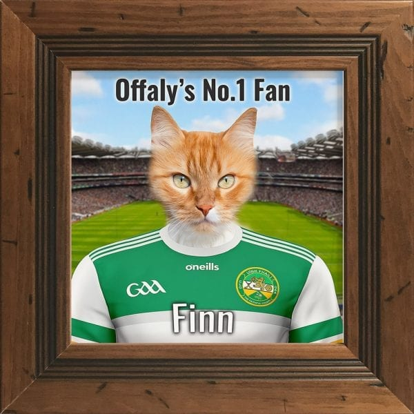 Offaly GAA fans gift. A personalised pet portrait ceramic GAA gift in a rustic pine real wood frame. Picture Parcel pet portraits are handmade in Ireland and ship worldwide. A great gift for any GAA supporter at home or abroad.