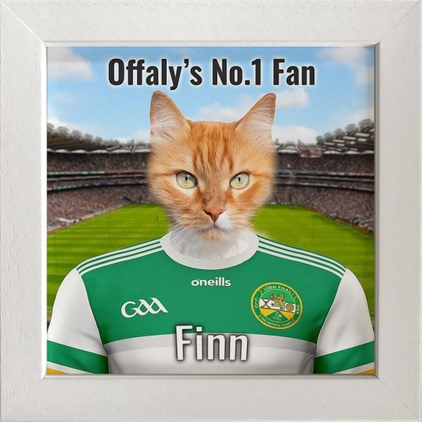 Offaly GAA fans gift. A personalised pet portrait ceramic GAA gift in a white real wood frame. Picture Parcel pet portraits are handmade in Ireland and ship worldwide. A great gift for any GAA supporter at home or abroad.