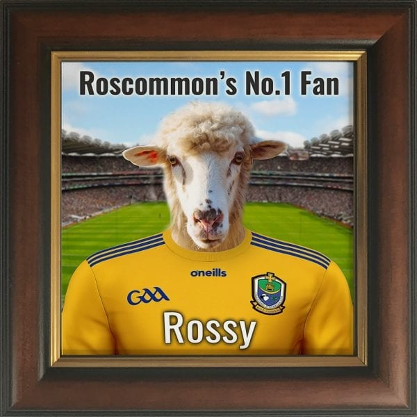Roscommon GAA fans gift. A personalised pet portrait ceramic GAA gift in a brown and gold real wood frame. Picture Parcel pet portraits are handmade in Ireland and ship worldwide. A great gift for any GAA supporter at home or abroad. Come ready to hang or display on a shelf - therefore no extra framing expense.