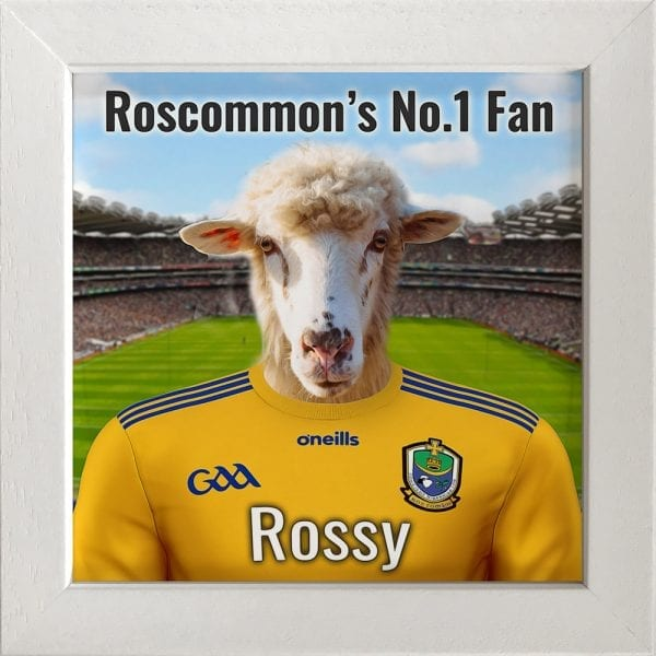 Roscommon GAA fans gift. A personalised pet portrait ceramic GAA gift in a white real wood frame. Picture Parcel pet portraits are handmade in Ireland and ship worldwide. A great gift for any GAA supporter at home or abroad. Come ready to hang or display on a shelf - therefore no extra framing expense.