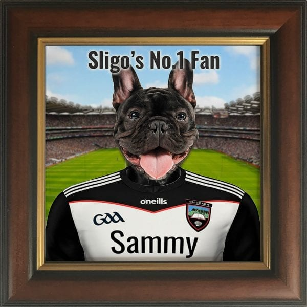 Sligo GAA fans gift. A personalised pet portrait ceramic GAA gift in a white real wood frame. Picture Parcel pet portraits are handmade in Ireland and ship worldwide. A great gift for any GAA supporter at home or abroad. Come ready to hang or display on a shelf - therefore no extra framing expense.