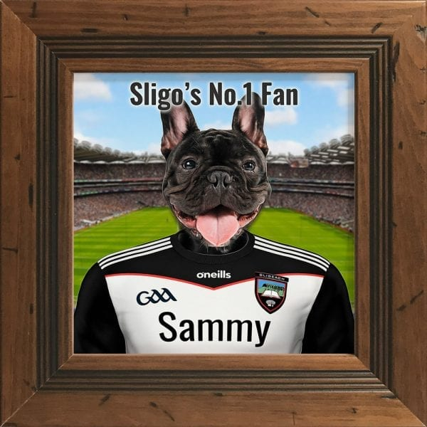 Sligo GAA fans gift. A personalised pet portrait ceramic GAA gift in a rustic pine real wood frame. Picture Parcel pet portraits are handmade in Ireland and ship worldwide. A great gift for any GAA supporter at home or abroad. Come ready to hang or display on a shelf - therefore no extra framing expense.
