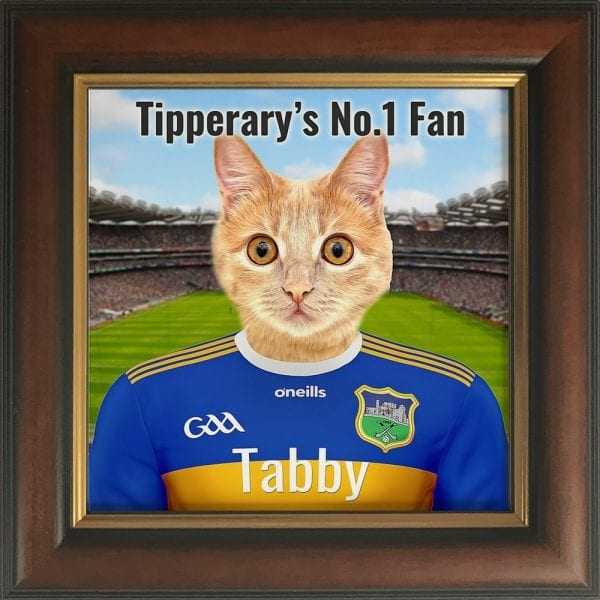 Tipperary GAA fans gift. A personalised pet portrait ceramic GAA gift in a gold and brown real wood frame. Picture Parcel pet portraits are handmade in Ireland and ship worldwide. A great gift for any GAA supporter at home or abroad. Come ready to hang or display on a shelf - therefore no extra framing expense.