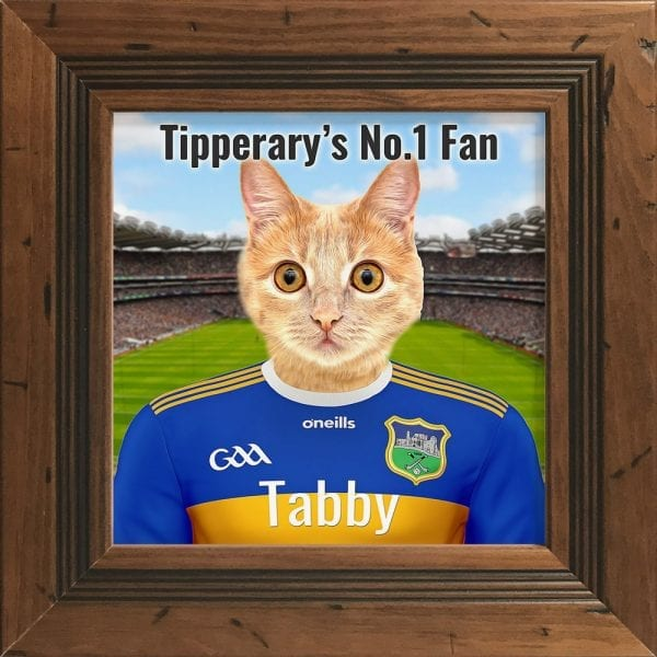 Tipperary GAA fans gift. A personalised pet portrait ceramic GAA gift in a rustic pine real wood frame. Picture Parcel pet portraits are handmade in Ireland and ship worldwide. A great gift for any GAA supporter at home or abroad. Come ready to hang or display on a shelf - therefore no extra framing expense.