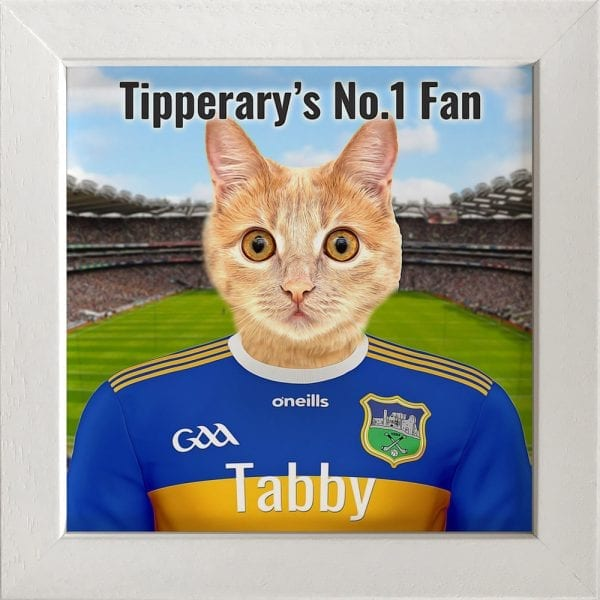 Tipperary GAA fans gift. A personalised pet portrait ceramic GAA gift in a white real wood frame. Picture Parcel pet portraits are handmade in Ireland and ship worldwide. A great gift for any GAA supporter at home or abroad. Come ready to hang or display on a shelf - therefore no extra framing expense.