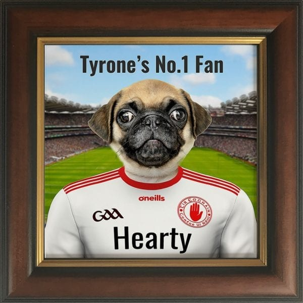 Tyrone GAA fans gift. A personalised pet portrait ceramic GAA gift in a Gold and brown real wood frame. Picture Parcel pet portraits are handmade in Ireland and ship worldwide. A great gift for any GAA supporter at home or abroad. Come ready to hang or display on a shelf - therefore no extra framing expense.