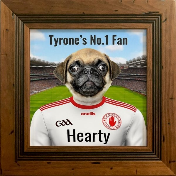 Tyrone GAA fans gift. A personalised pet portrait ceramic GAA gift in a antique pine real wood frame. Picture Parcel pet portraits are handmade in Ireland and ship worldwide. A great gift for any GAA supporter at home or abroad. Come ready to hang or display on a shelf - therefore no extra framing expense.