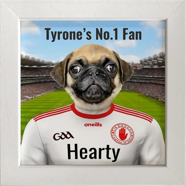 Tyrone GAA fans gift. A personalised pet portrait ceramic GAA gift in a white real wood frame. Picture Parcel pet portraits are handmade in Ireland and ship worldwide. A great gift for any GAA supporter at home or abroad. Come ready to hang or display on a shelf - therefore no extra framing expense.