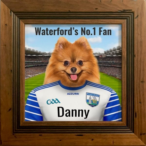 Waterford GAA fans gift. A personalised pet portrait ceramic GAA gift in a antique pine real wood frame. Picture Parcel pet portraits are handmade in Ireland and ship worldwide. A great gift for any GAA supporter at home or abroad. Come ready to hang or display on a shelf - therefore no extra framing expense.