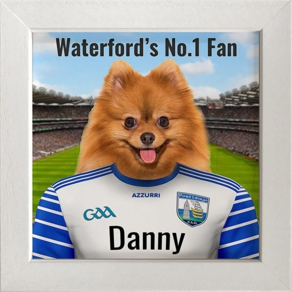 Waterford GAA fans gift. A personalised pet portrait ceramic GAA gift in a white real wood frame. Picture Parcel pet portraits are handmade in Ireland and ship worldwide. A great gift for any GAA supporter at home or abroad. Come ready to hang or display on a shelf - therefore no extra framing expense.