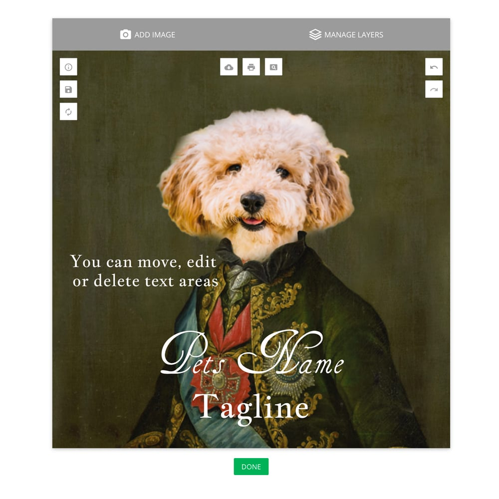 Picture Parcel - Online pet portrait design software.