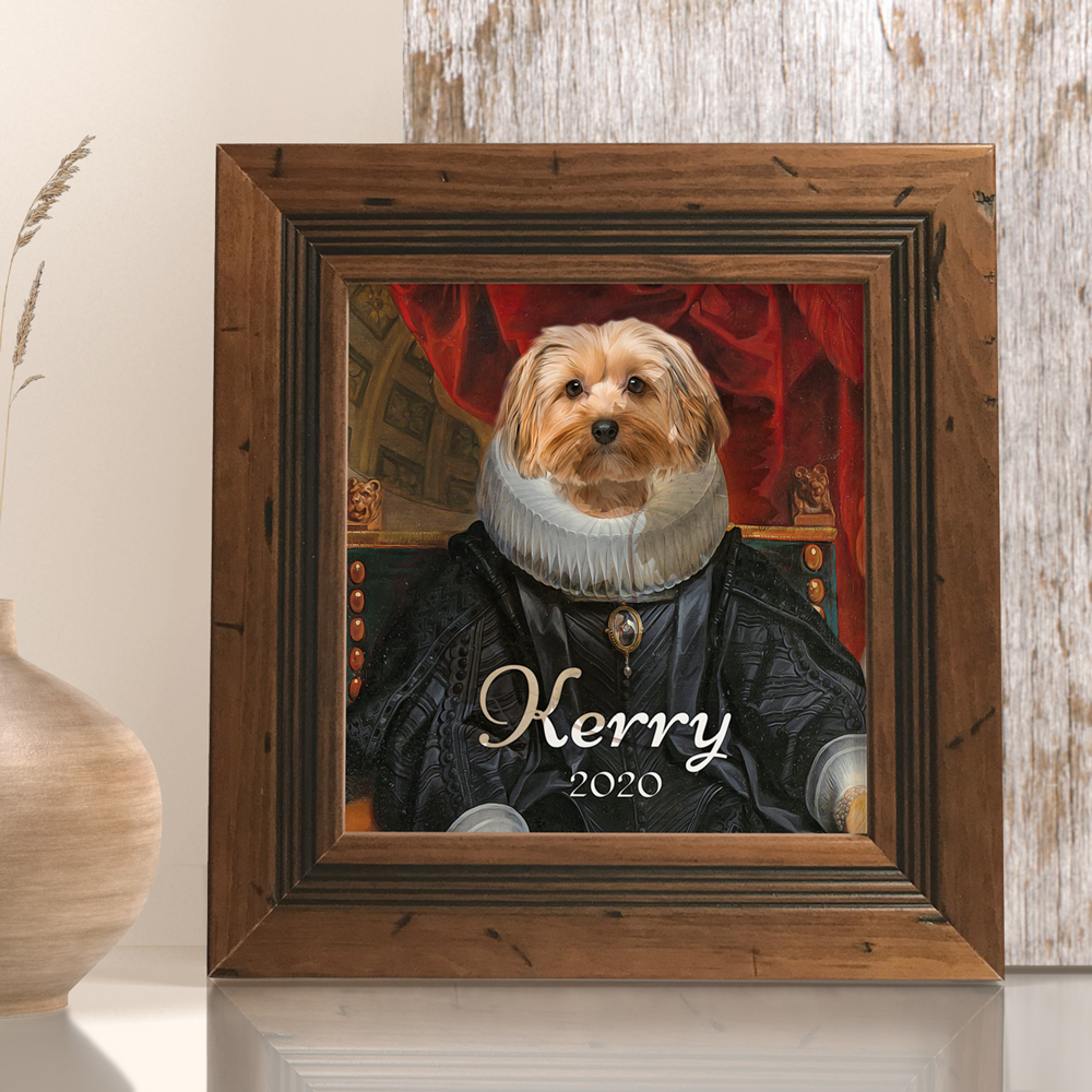 Personalised and custom made pet portrait on shelf. Comes with frame and picture stand.